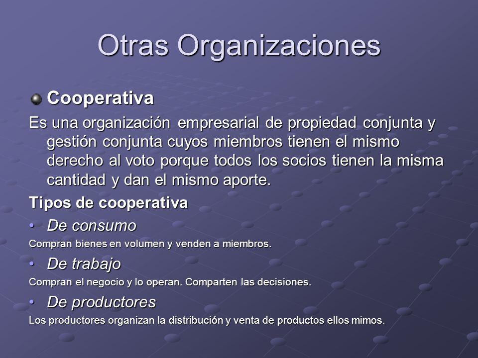 Otras Organizaciones Cooperativa Es una organización empresarial de propiedad conjunta y gestión conjunta cuyos miembros tienen el mismo derecho al vo