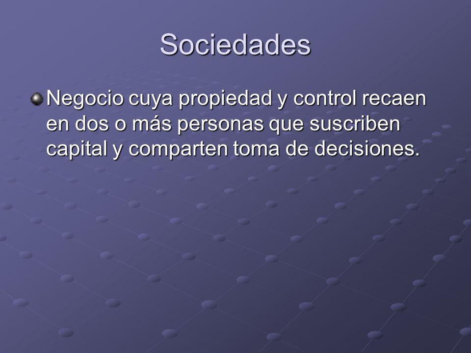Sociedades Negocio cuya propiedad y control recaen en dos o más personas que suscriben capital y comparten toma de decisiones.