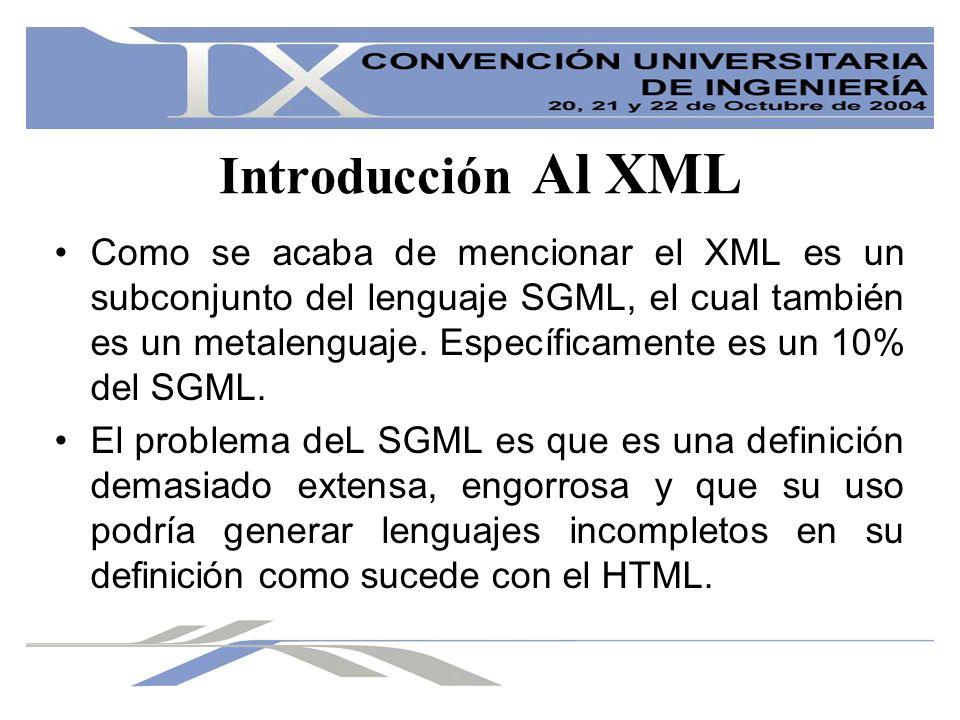 Introducción Al XML Como se acaba de mencionar el XML es un subconjunto del lenguaje SGML, el cual también es un metalenguaje. Específicamente es un 1