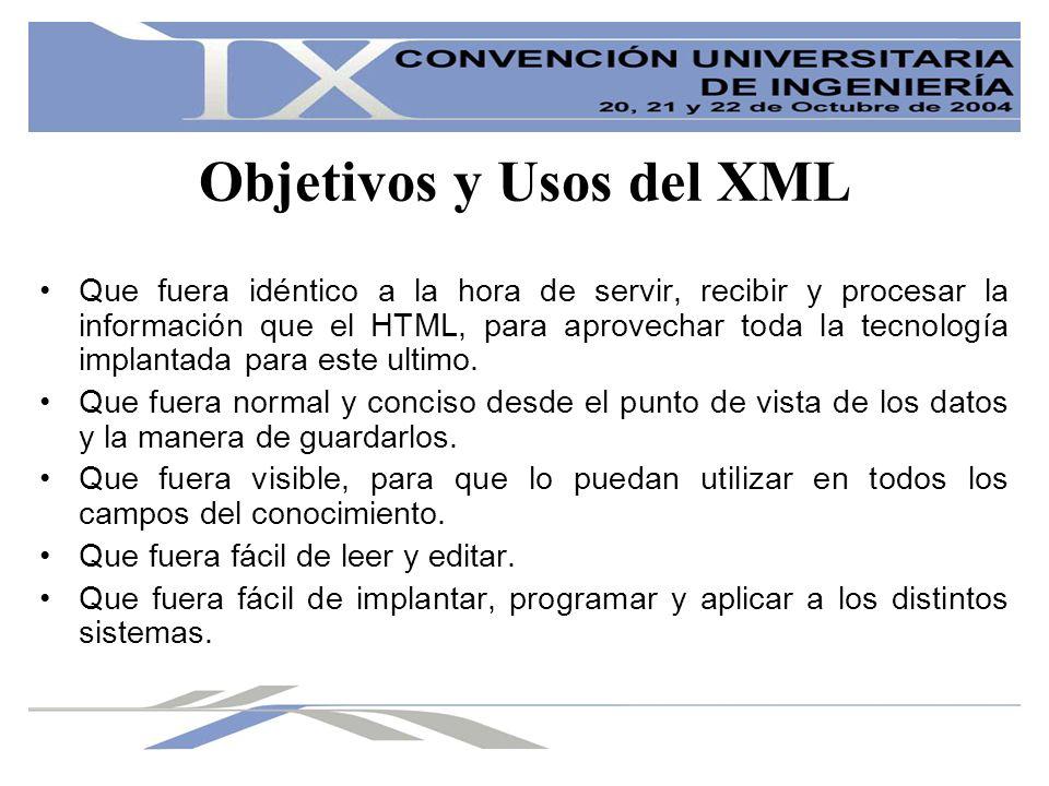 Objetivos y Usos del XML Que fuera idéntico a la hora de servir, recibir y procesar la información que el HTML, para aprovechar toda la tecnología imp