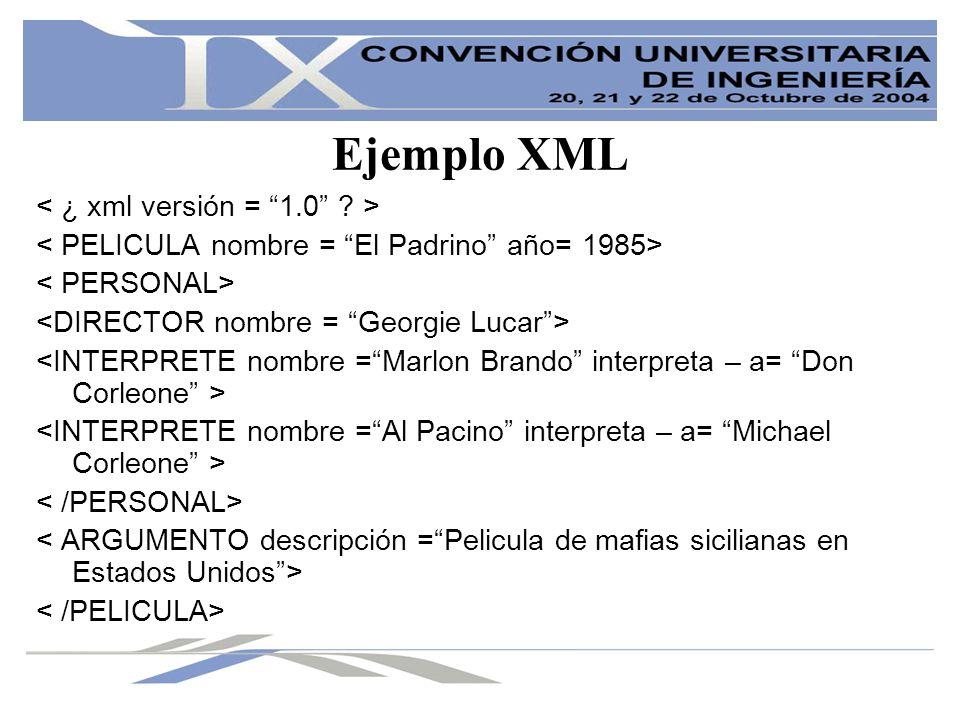 Comentario del Ejemplo XML En el siguiente ejemplo hemos creado etiquetas y la hemos animado de manera que al etiqueta mas grande es la PELICULA y dentro de ella tenemos el PERSONAL y el ARGUMENTO.