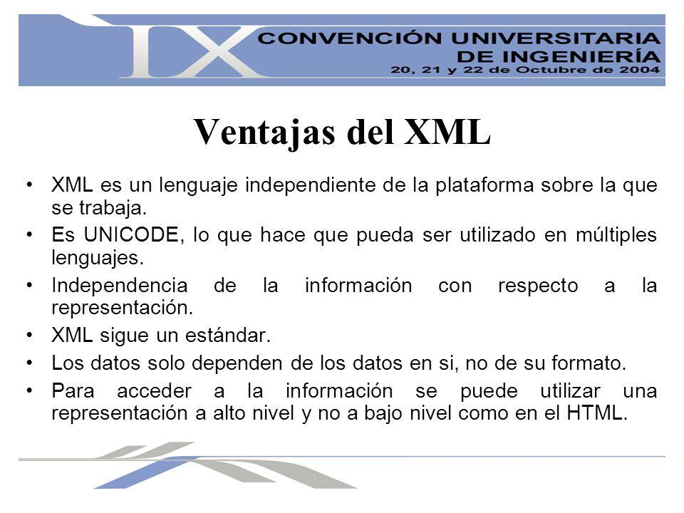 Ventajas del XML XML es un lenguaje independiente de la plataforma sobre la que se trabaja. Es UNICODE, lo que hace que pueda ser utilizado en múltipl