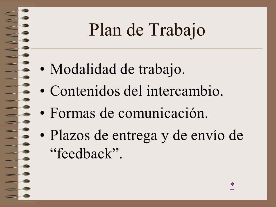 Plan de Trabajo Modalidad de trabajo. Contenidos del intercambio. Formas de comunicación. Plazos de entrega y de envío de feedback. *