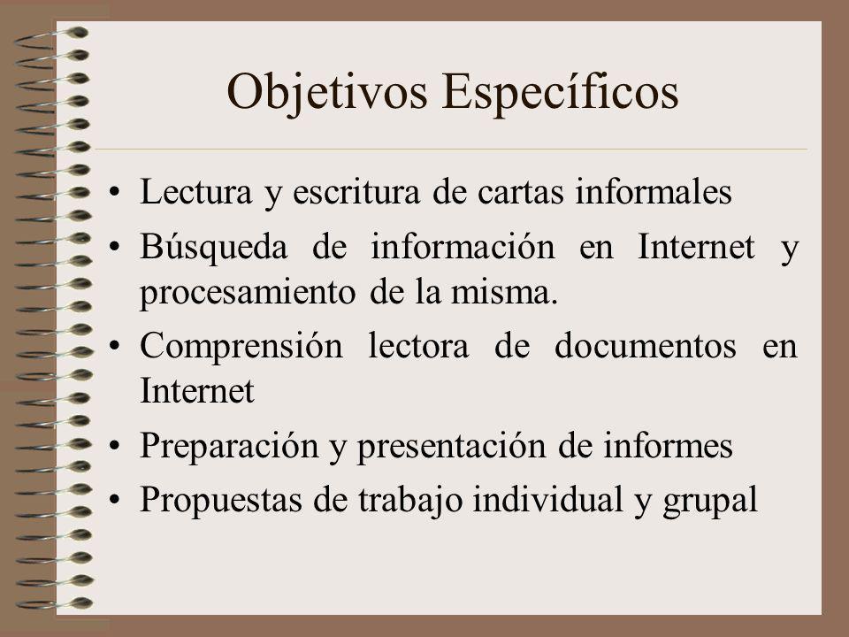 Objetivos Específicos Lectura y escritura de cartas informales Búsqueda de información en Internet y procesamiento de la misma. Comprensión lectora de