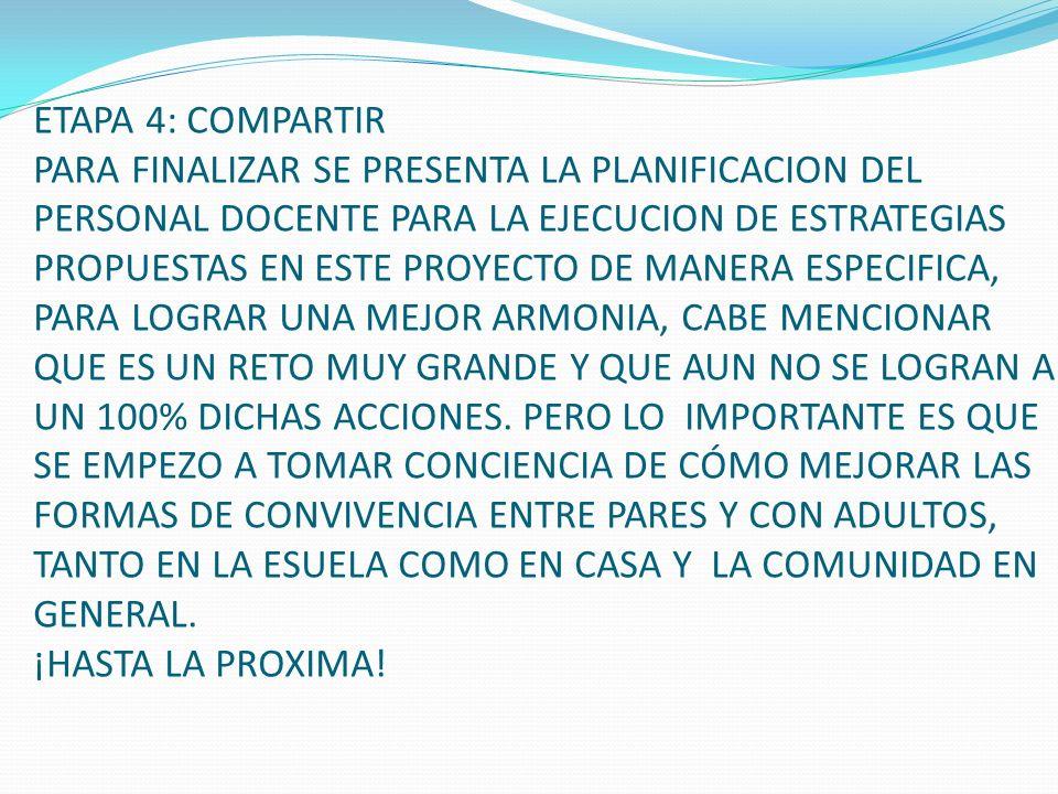 ETAPA 4: COMPARTIR PARA FINALIZAR SE PRESENTA LA PLANIFICACION DEL PERSONAL DOCENTE PARA LA EJECUCION DE ESTRATEGIAS PROPUESTAS EN ESTE PROYECTO DE MA