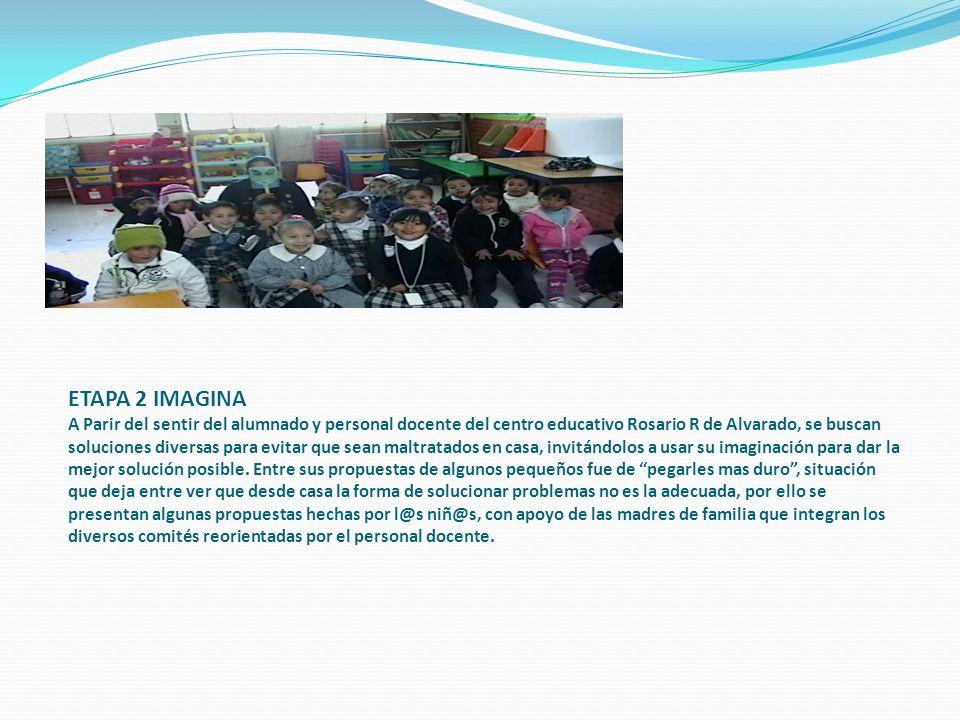 ETAPA 2 IMAGINA A Parir del sentir del alumnado y personal docente del centro educativo Rosario R de Alvarado, se buscan soluciones diversas para evit