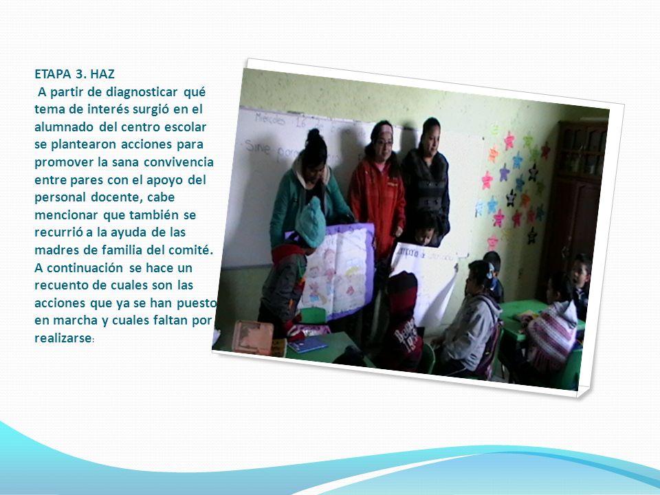 ETAPA 3. HAZ A partir de diagnosticar qué tema de interés surgió en el alumnado del centro escolar se plantearon acciones para promover la sana conviv