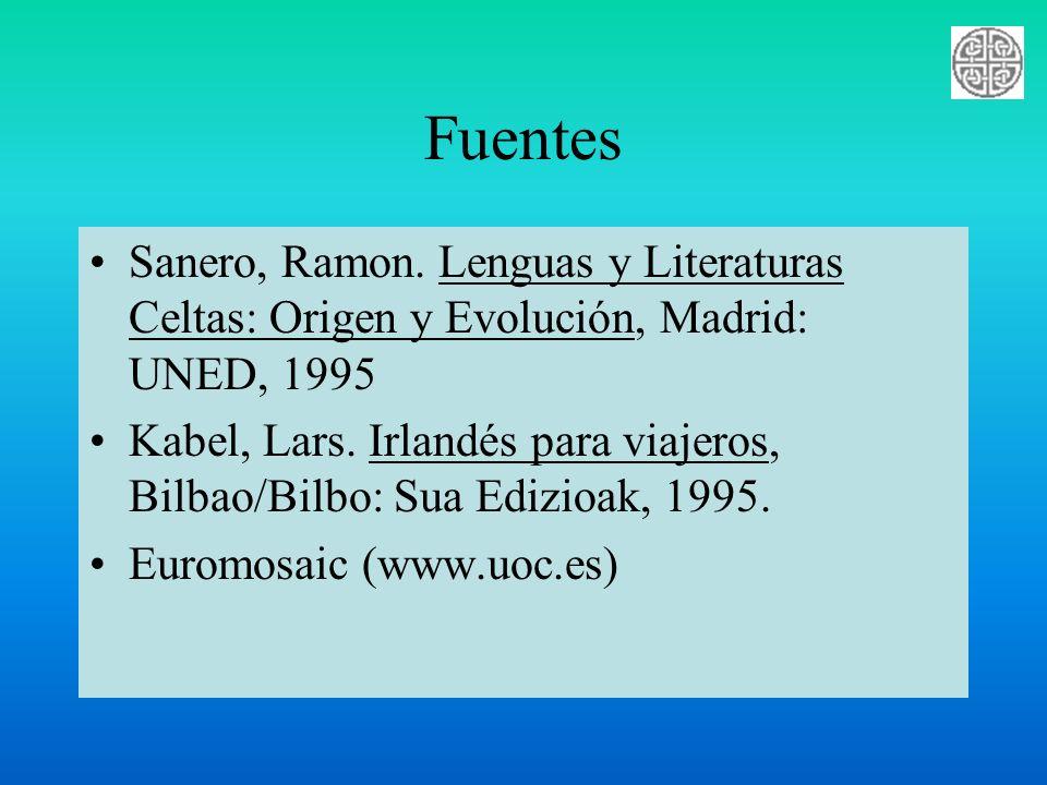 Fuentes Sanero, Ramon. Lenguas y Literaturas Celtas: Origen y Evolución, Madrid: UNED, 1995 Kabel, Lars. Irlandés para viajeros, Bilbao/Bilbo: Sua Edi