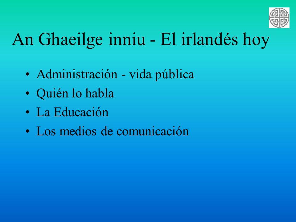 An Ghaeilge inniu - El irlandés hoy Administración - vida pública Quién lo habla La Educación Los medios de comunicación