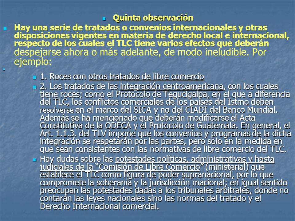 Quinta observación Quinta observación Hay una serie de tratados o convenios internacionales y otras disposiciones vigentes en materia de derecho local e internacional, respecto de los cuales el TLC tiene varios efectos que deberán despejarse ahora o más adelante, de modo ineludible.