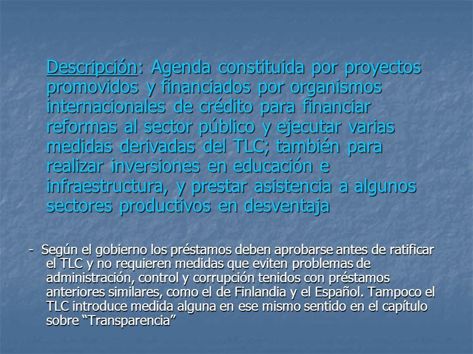 Descripción: Agenda constituida por proyectos promovidos y financiados por organismos internacionales de crédito para financiar reformas al sector púb