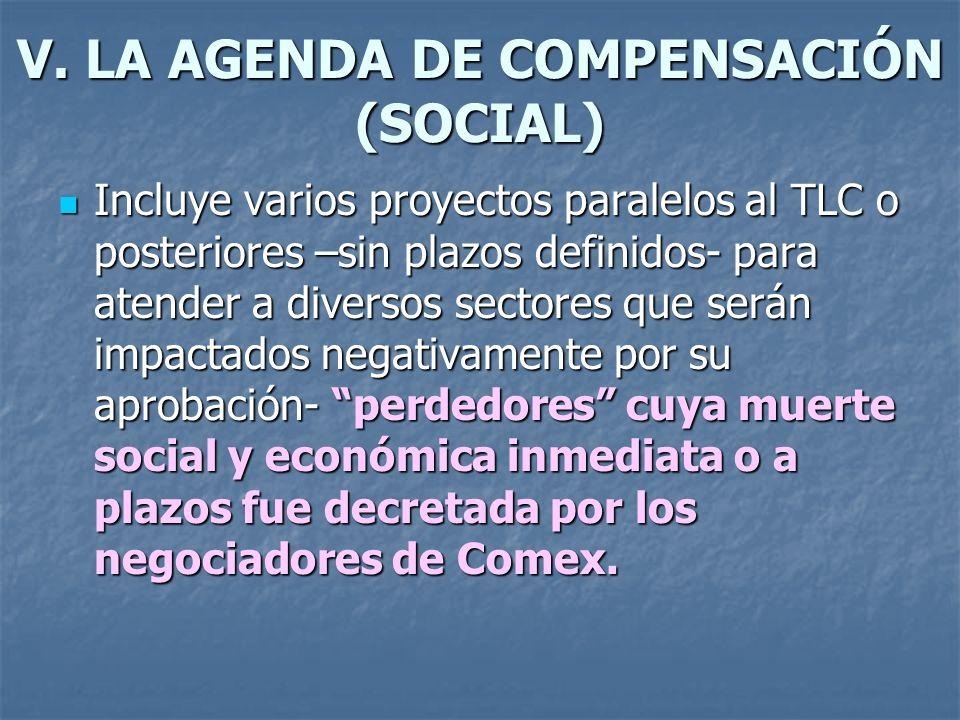 V. LA AGENDA DE COMPENSACIÓN (SOCIAL) Incluye varios proyectos paralelos al TLC o posteriores –sin plazos definidos- para atender a diversos sectores