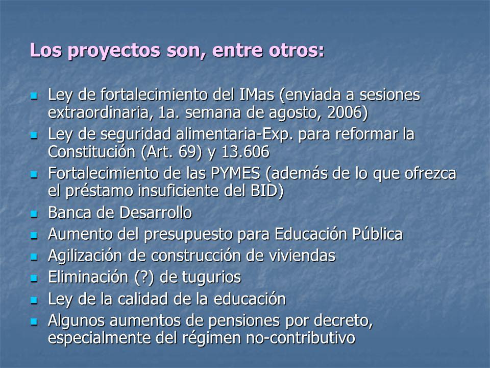 Los proyectos son, entre otros: Ley de fortalecimiento del IMas (enviada a sesiones extraordinaria, 1a. semana de agosto, 2006) Ley de fortalecimiento