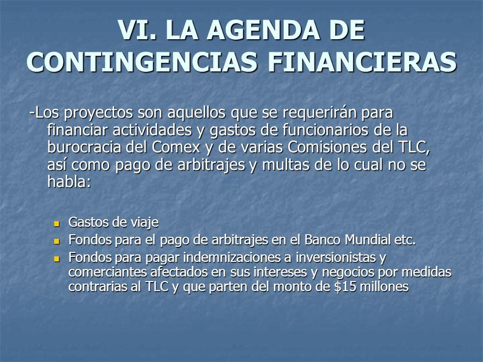 VI. LA AGENDA DE CONTINGENCIAS FINANCIERAS -Los proyectos son aquellos que se requerirán para financiar actividades y gastos de funcionarios de la bur