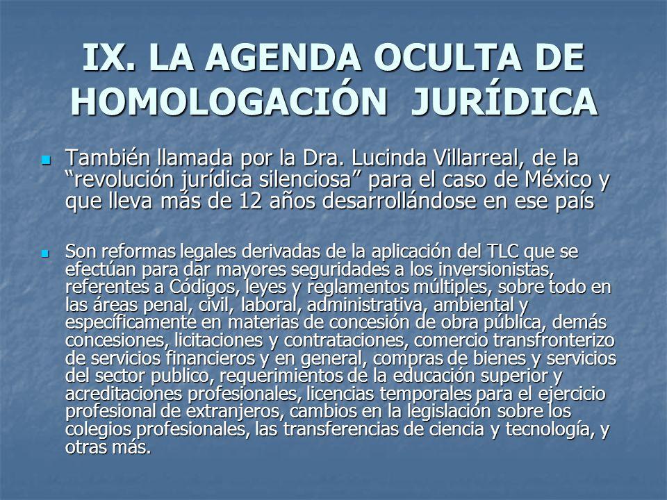IX. LA AGENDA OCULTA DE HOMOLOGACIÓN JURÍDICA También llamada por la Dra. Lucinda Villarreal, de la revolución jurídica silenciosa para el caso de Méx