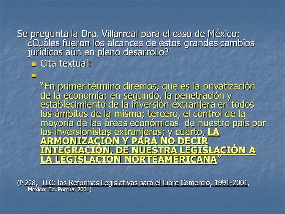Se pregunta la Dra. Villarreal para el caso de México: ¿Cuáles fueron los alcances de estos grandes cambios jurídicos aún en pleno desarrollo? Cita te