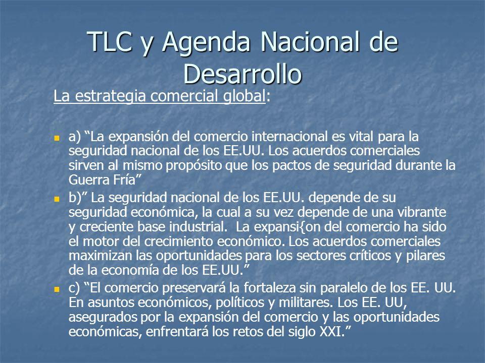 TLC y Agenda Nacional de Desarrollo La estrategia comercial global: a) La expansión del comercio internacional es vital para la seguridad nacional de los EE.UU.