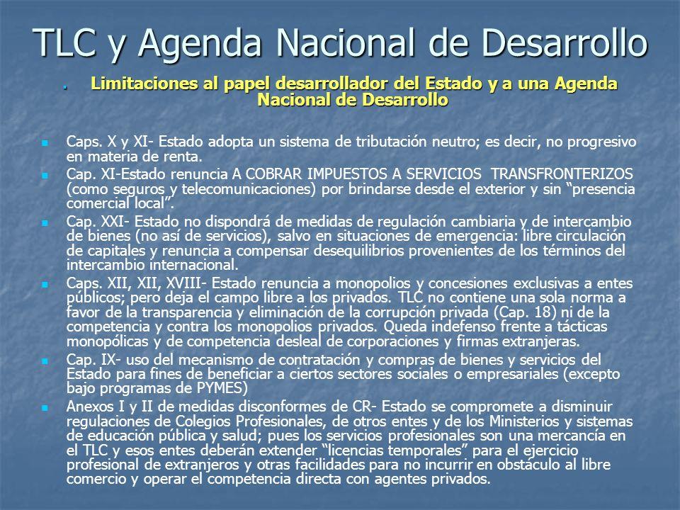 TLC y Agenda Nacional de Desarrollo Limitaciones al papel desarrollador del Estado y a una Agenda Nacional de Desarrollo Limitaciones al papel desarro