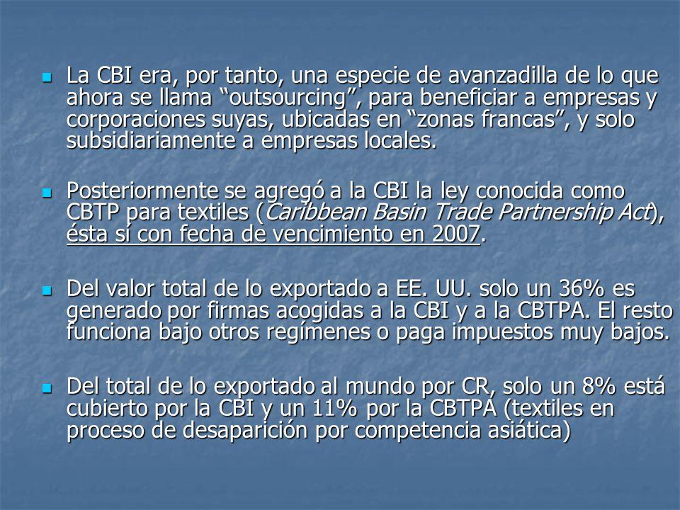 La CBI era, por tanto, una especie de avanzadilla de lo que ahora se llama outsourcing, para beneficiar a empresas y corporaciones suyas, ubicadas en zonas francas, y solo subsidiariamente a empresas locales.