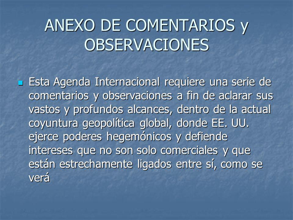 ANEXO DE COMENTARIOS y OBSERVACIONES Esta Agenda Internacional requiere una serie de comentarios y observaciones a fin de aclarar sus vastos y profund