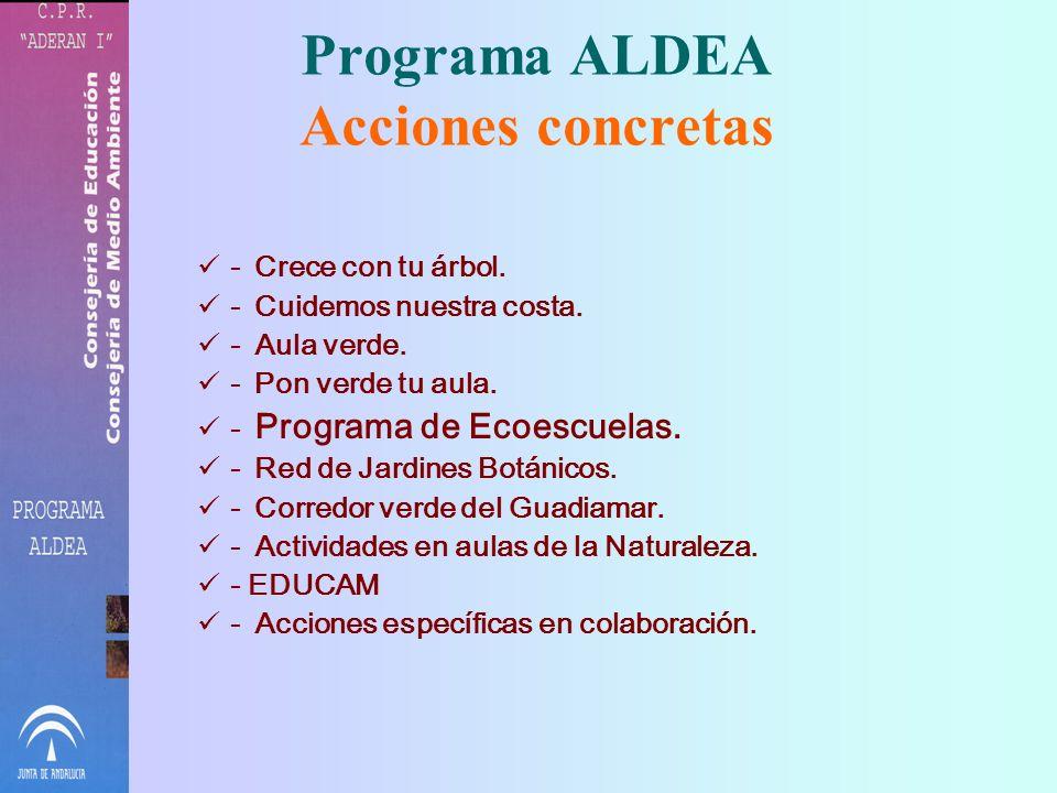 Programa ALDEA Consejería de Medio Ambiente Consejería de Educación Potenciar el desarrollo de la Educación Ambiental en el Sistema Educativo