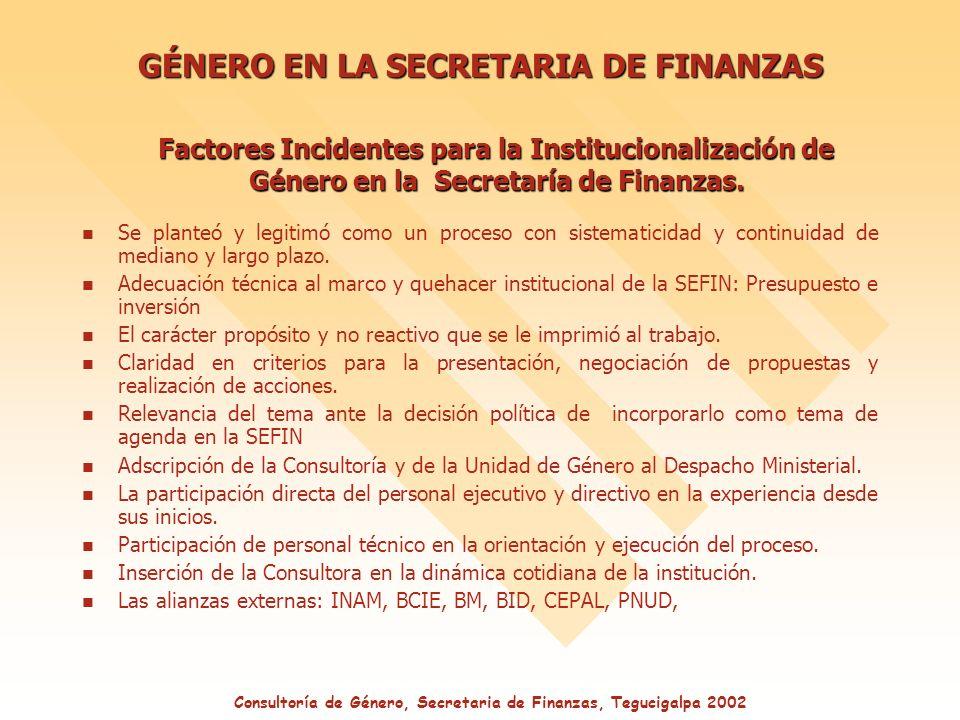 GÉNERO EN LA SECRETARIA DE FINANZAS Factores Incidentes para la Institucionalización de Género en la Secretaría de Finanzas.