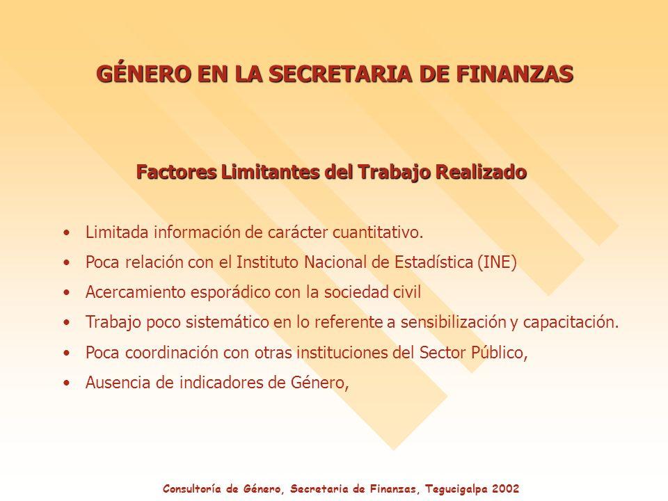 GÉNERO EN LA SECRETARIA DE FINANZAS Factores Limitantes del Trabajo Realizado Limitada información de carácter cuantitativo.