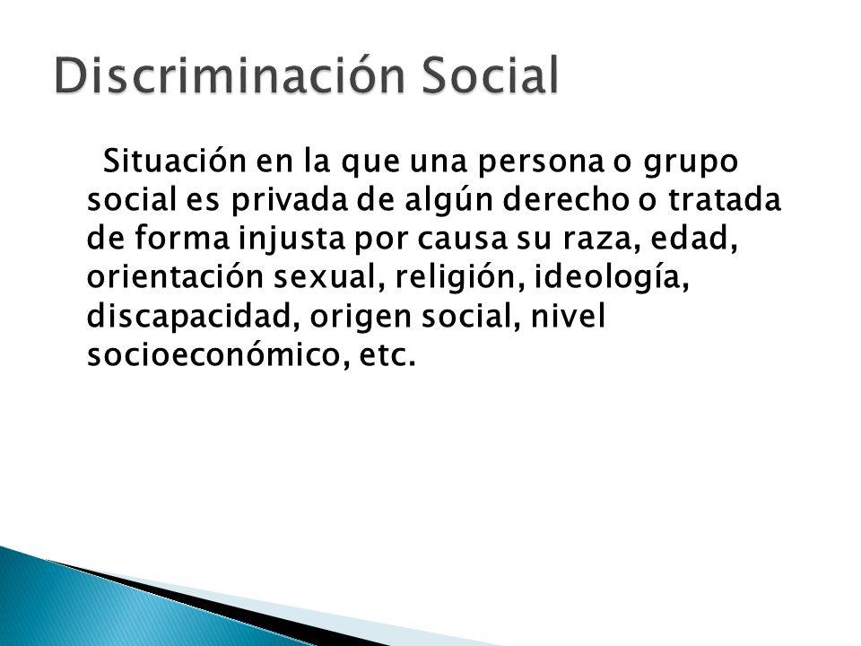 Situación en la que una persona o grupo social es privada de algún derecho o tratada de forma injusta por causa su raza, edad, orientación sexual, rel