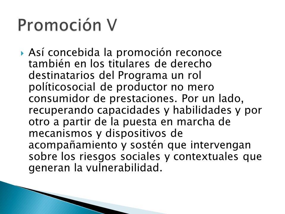 Así concebida la promoción reconoce también en los titulares de derecho destinatarios del Programa un rol políticosocial de productor no mero consumid