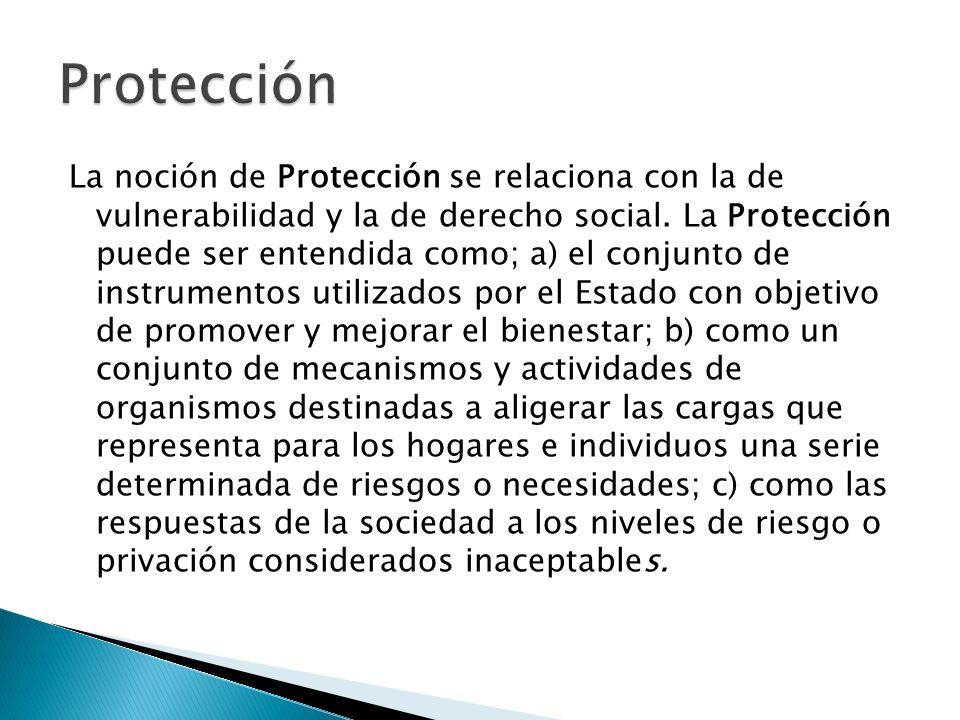 La noción de Protección se relaciona con la de vulnerabilidad y la de derecho social. La Protección puede ser entendida como; a) el conjunto de instru
