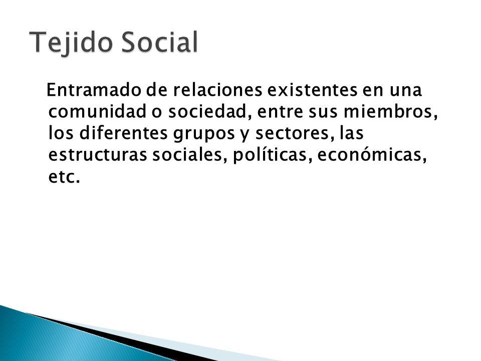 Entramado de relaciones existentes en una comunidad o sociedad, entre sus miembros, los diferentes grupos y sectores, las estructuras sociales, políti