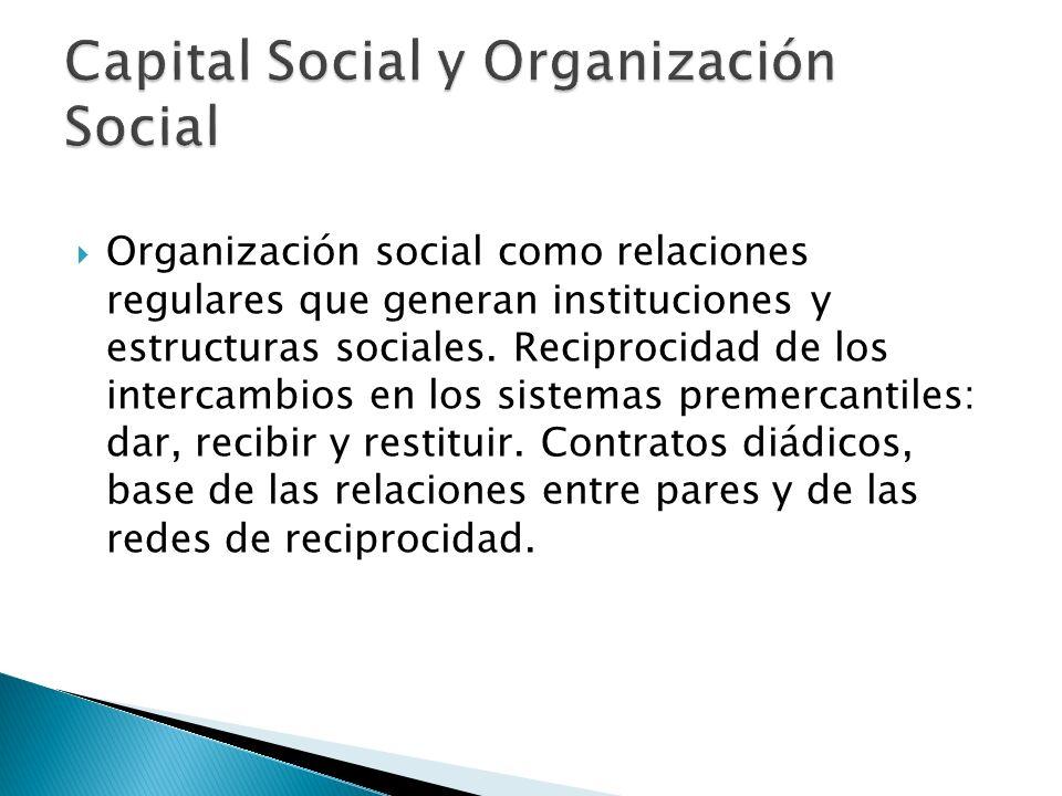 Organización social como relaciones regulares que generan instituciones y estructuras sociales. Reciprocidad de los intercambios en los sistemas preme
