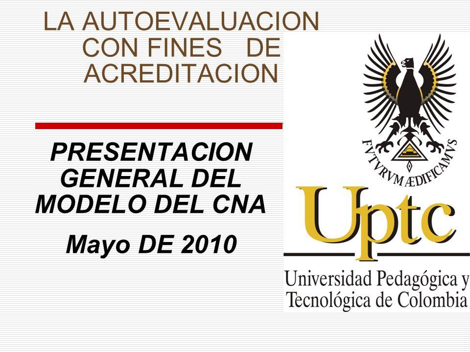 LA AUTOEVALUACION CON FINES DE ACREDITACION PRESENTACION GENERAL DEL MODELO DEL CNA Mayo DE 2010