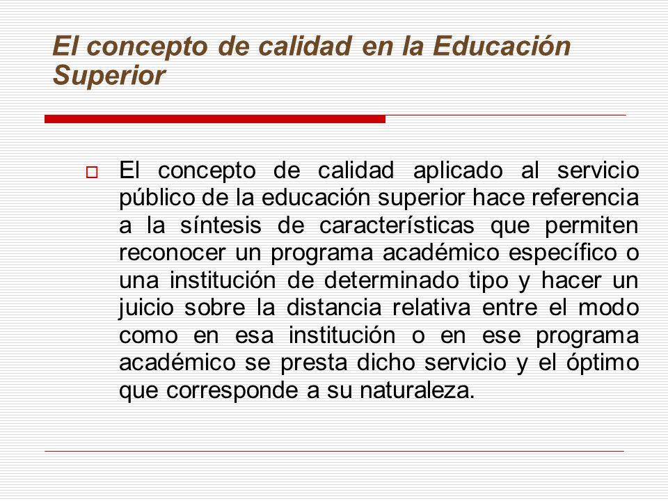 El concepto de calidad en la Educación Superior El concepto de calidad aplicado al servicio público de la educación superior hace referencia a la sínt