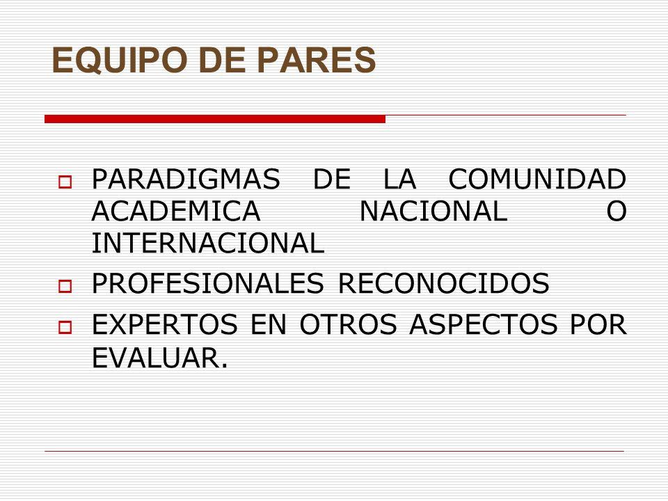 EQUIPO DE PARES PARADIGMAS DE LA COMUNIDAD ACADEMICA NACIONAL O INTERNACIONAL PROFESIONALES RECONOCIDOS EXPERTOS EN OTROS ASPECTOS POR EVALUAR.