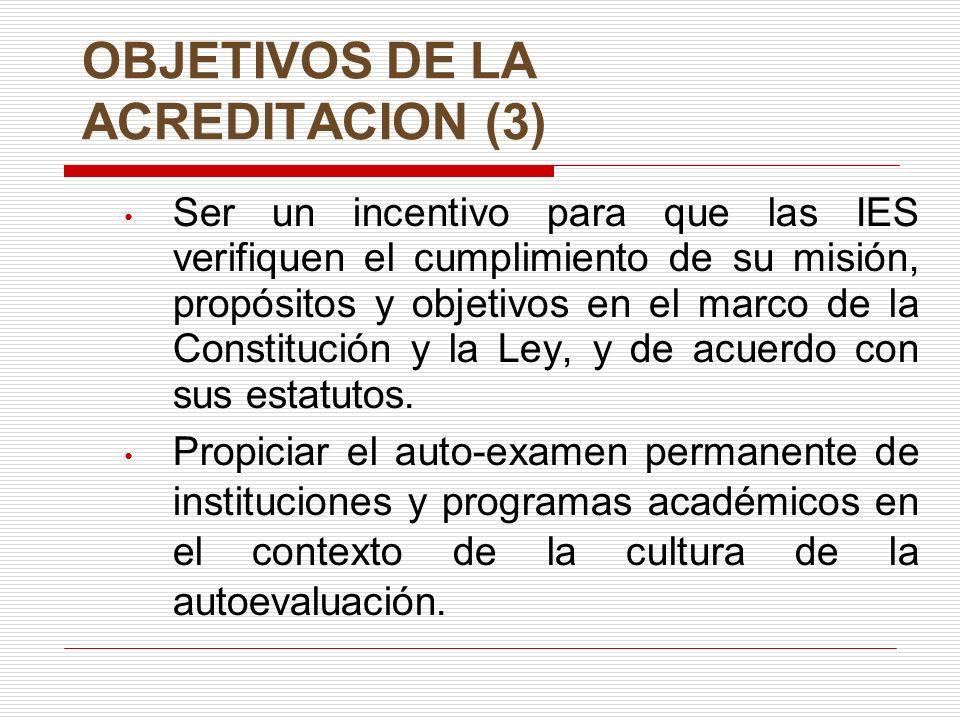 OBJETIVOS DE LA ACREDITACION (3) Ser un incentivo para que las IES verifiquen el cumplimiento de su misión, propósitos y objetivos en el marco de la Constitución y la Ley, y de acuerdo con sus estatutos.