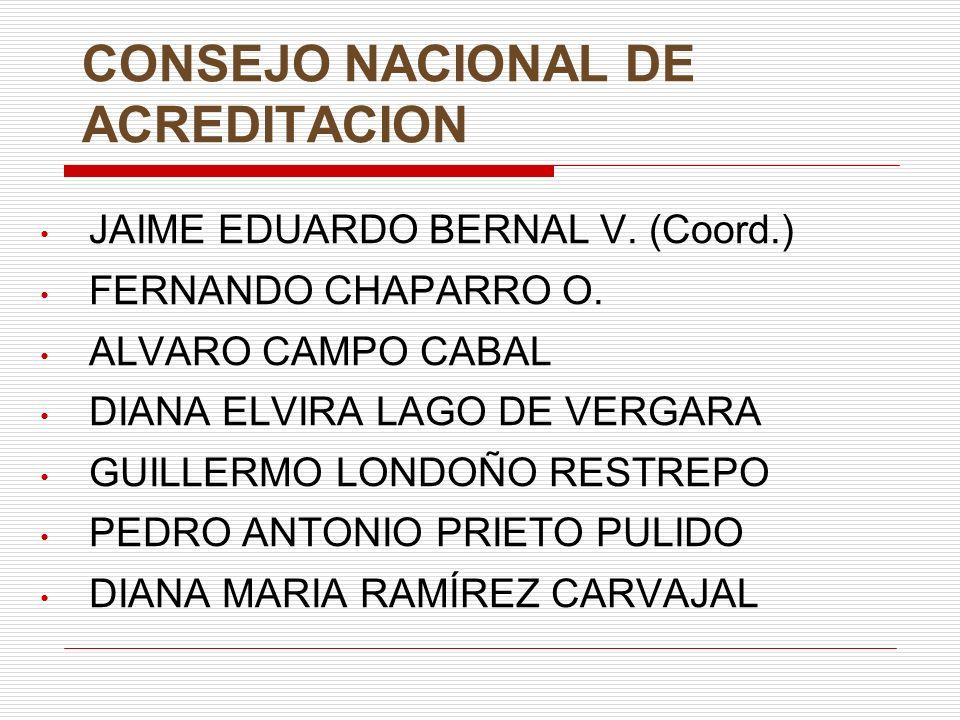 CONSEJO NACIONAL DE ACREDITACION JAIME EDUARDO BERNAL V. (Coord.) FERNANDO CHAPARRO O. ALVARO CAMPO CABAL DIANA ELVIRA LAGO DE VERGARA GUILLERMO LONDO