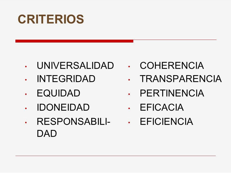 CRITERIOS UNIVERSALIDAD INTEGRIDAD EQUIDAD IDONEIDAD RESPONSABILI- DAD COHERENCIA TRANSPARENCIA PERTINENCIA EFICACIA EFICIENCIA