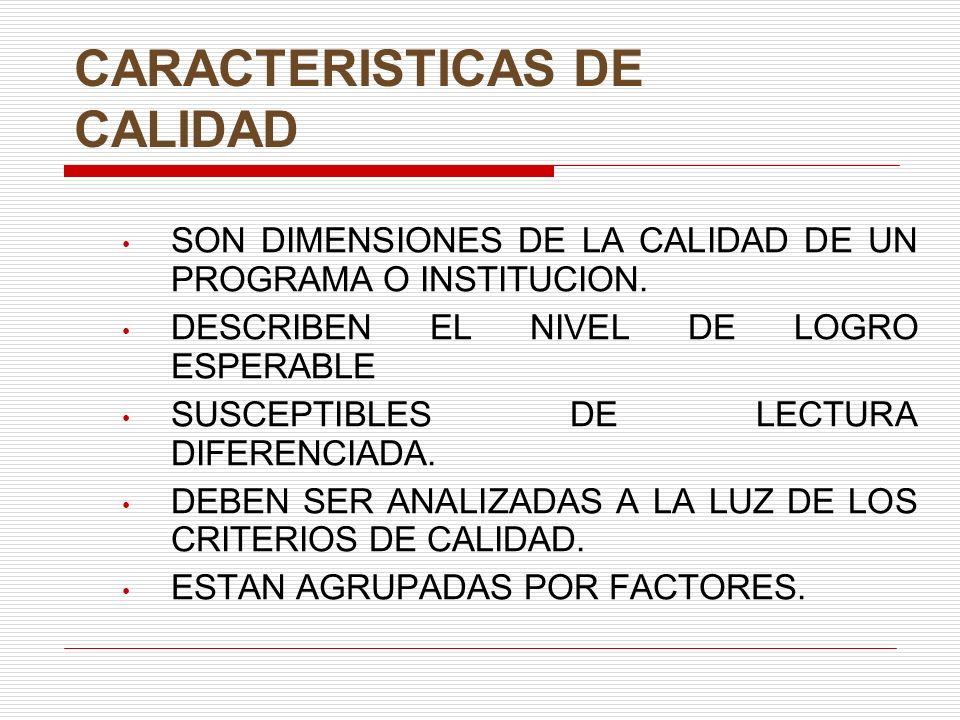 CARACTERISTICAS DE CALIDAD SON DIMENSIONES DE LA CALIDAD DE UN PROGRAMA O INSTITUCION.