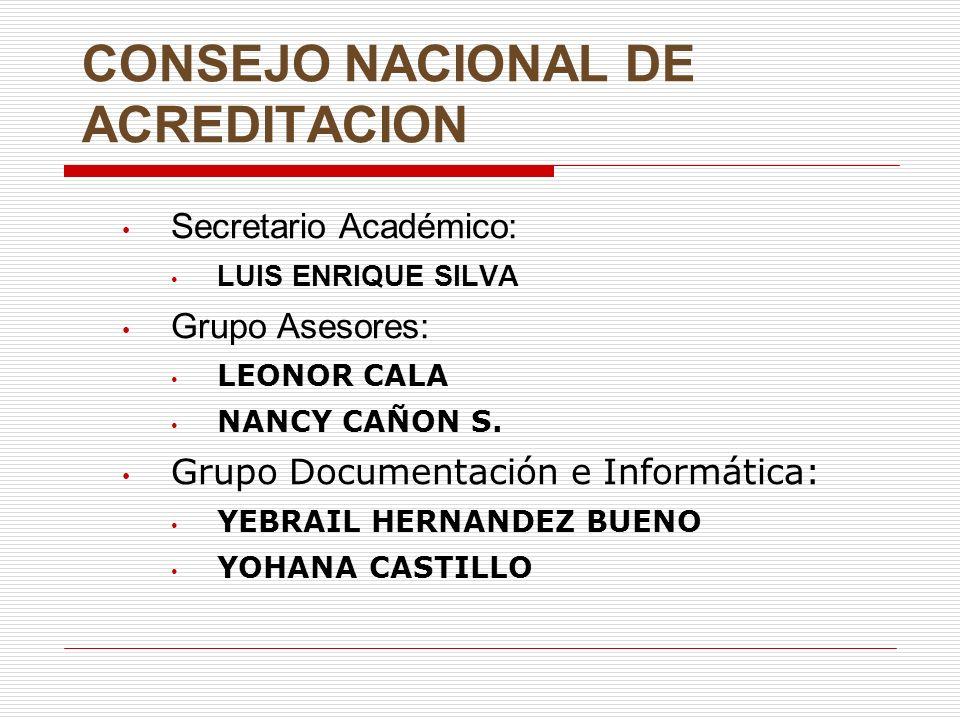 PROCEDIMIENTO GENERAL DE LA ACREDITACION Comunicación del representante legal al CNA expresando su voluntad de acreditar programas.