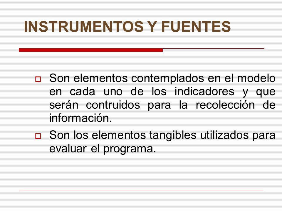 INSTRUMENTOS Y FUENTES Son elementos contemplados en el modelo en cada uno de los indicadores y que serán contruidos para la recolección de informació