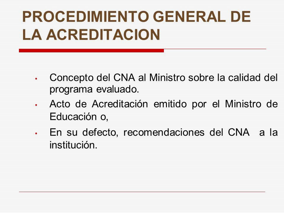 PROCEDIMIENTO GENERAL DE LA ACREDITACION Concepto del CNA al Ministro sobre la calidad del programa evaluado. Acto de Acreditación emitido por el Mini