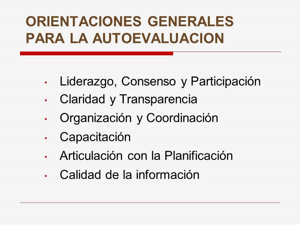ORIENTACIONES GENERALES PARA LA AUTOEVALUACION Liderazgo, Consenso y Participación Claridad y Transparencia Organización y Coordinación Capacitación Articulación con la Planificación Calidad de la información