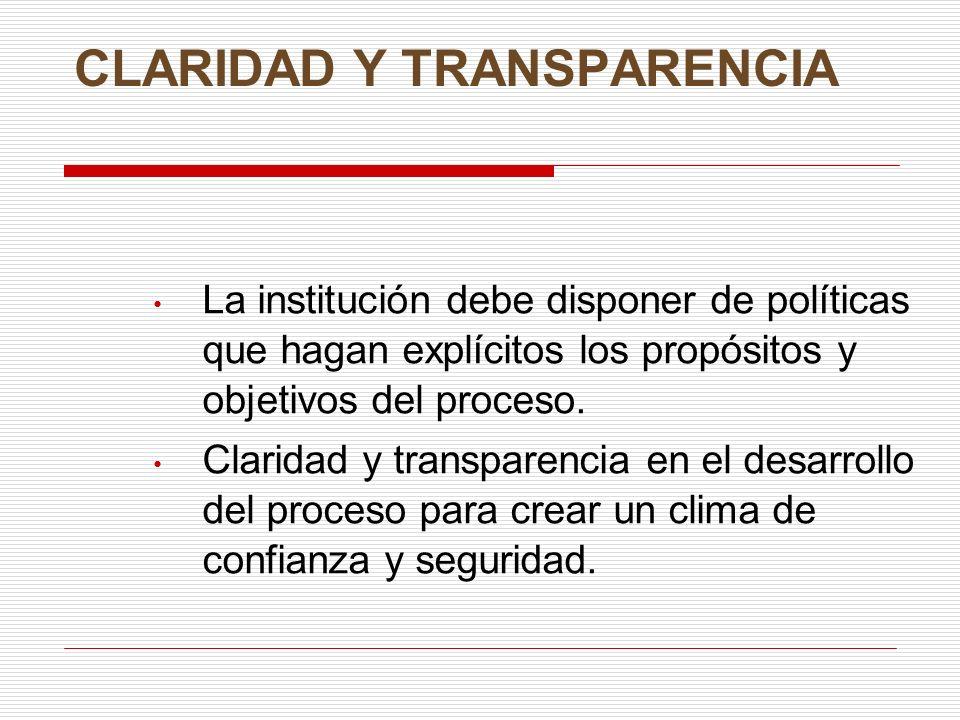 CLARIDAD Y TRANSPARENCIA La institución debe disponer de políticas que hagan explícitos los propósitos y objetivos del proceso. Claridad y transparenc