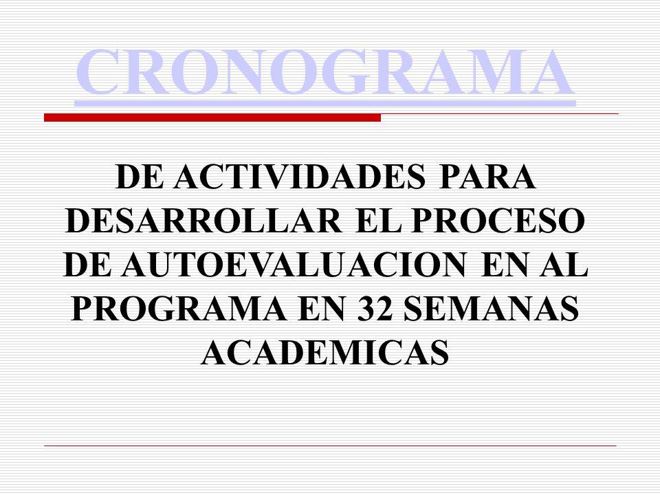 CRONOGRAMA DE ACTIVIDADES PARA DESARROLLAR EL PROCESO DE AUTOEVALUACION EN AL PROGRAMA EN 32 SEMANAS ACADEMICAS