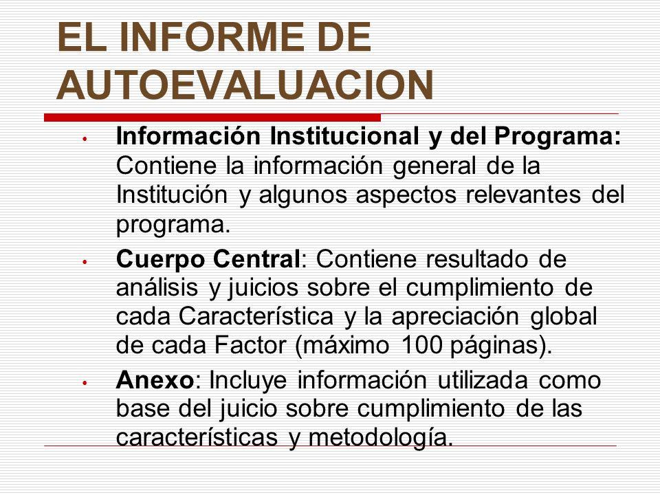 EL INFORME DE AUTOEVALUACION Información Institucional y del Programa: Contiene la información general de la Institución y algunos aspectos relevantes