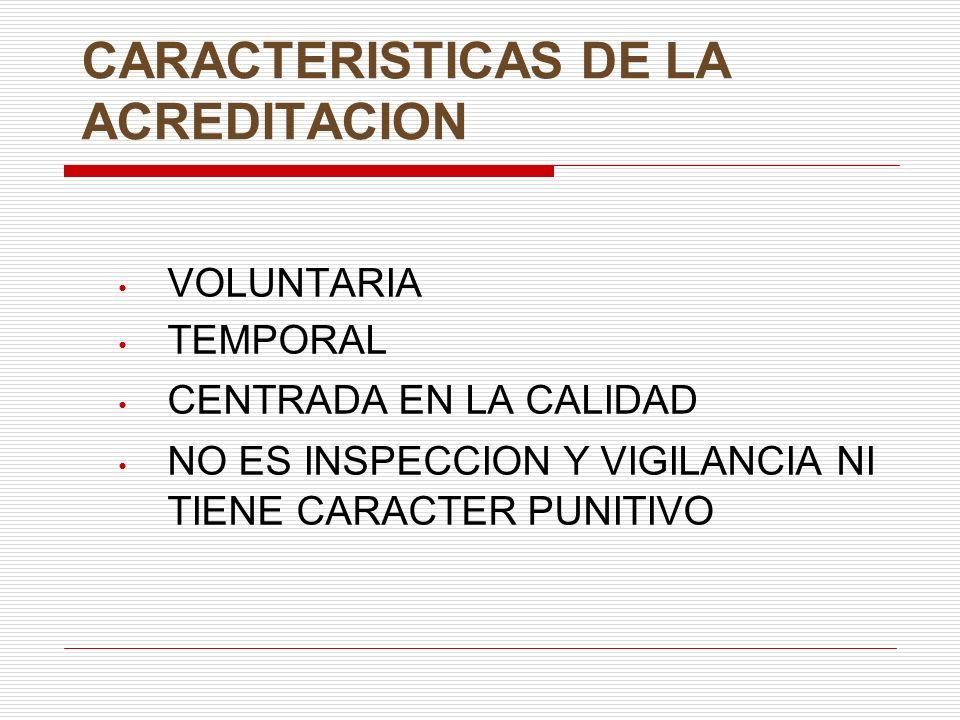 CARACTERISTICAS DE LA ACREDITACION VOLUNTARIA TEMPORAL CENTRADA EN LA CALIDAD NO ES INSPECCION Y VIGILANCIA NI TIENE CARACTER PUNITIVO