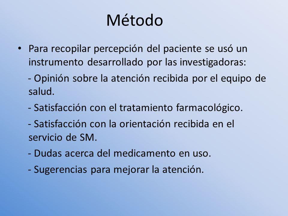 Para recopilar percepción del paciente se usó un instrumento desarrollado por las investigadoras: - Opinión sobre la atención recibida por el equipo d
