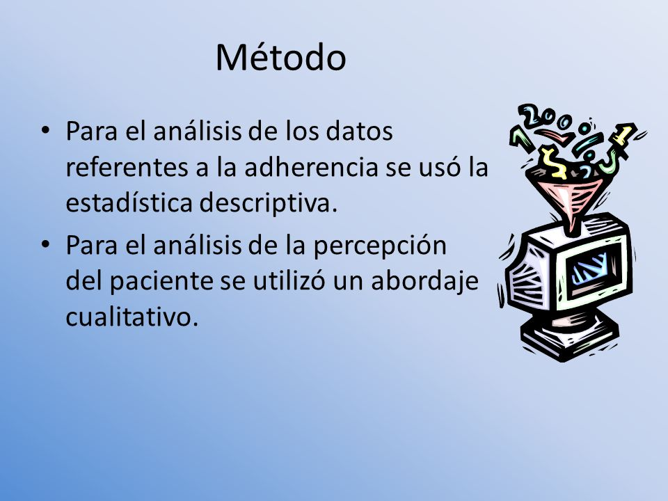 Para el análisis de los datos referentes a la adherencia se usó la estadística descriptiva. Para el análisis de la percepción del paciente se utilizó