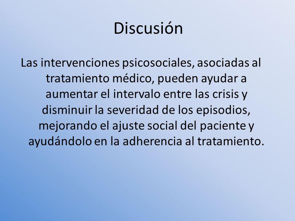 Las intervenciones psicosociales, asociadas al tratamiento médico, pueden ayudar a aumentar el intervalo entre las crisis y disminuir la severidad de